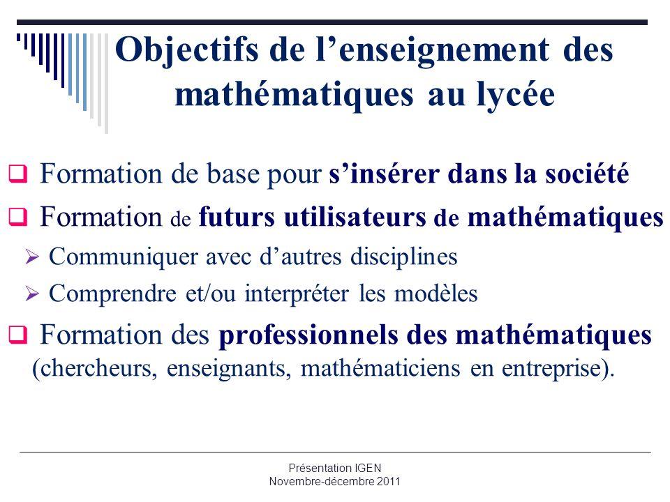 Objectifs de lenseignement des mathématiques au lycée Formation de base pour sinsérer dans la société Formation de futurs utilisateurs de mathématique