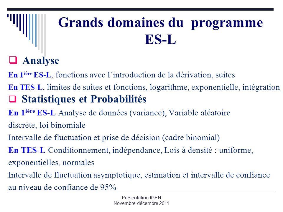 Présentation IGEN Novembre-décembre 2011 Grands domaines du programme ES-L Analyse En 1 ière ES-L, fonctions avec lintroduction de la dérivation, suit