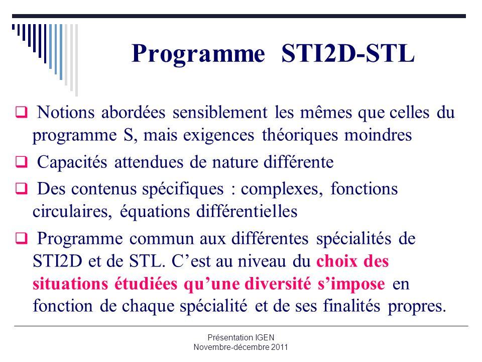 Présentation IGEN Novembre-décembre 2011 Programme STI2D-STL Notions abordées sensiblement les mêmes que celles du programme S, mais exigences théoriq