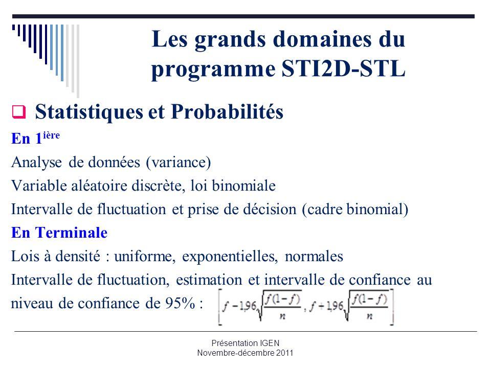 Les grands domaines du programme STI2D-STL Statistiques et Probabilités En 1 ière Analyse de données (variance) Variable aléatoire discrète, loi binom