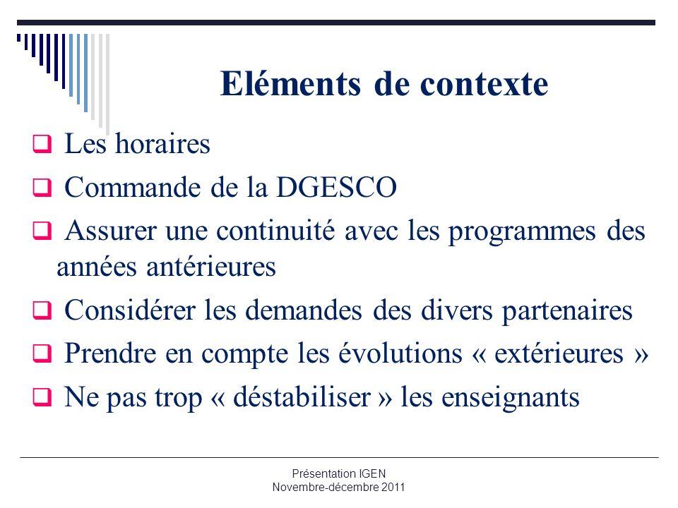 Eléments de contexte Les horaires Commande de la DGESCO Assurer une continuité avec les programmes des années antérieures Considérer les demandes des