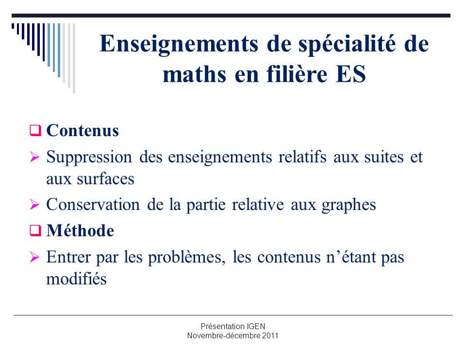 Enseignements de spécialité de maths en filière ES Contenus Suppression des enseignements relatifs aux suites et aux surfaces Conservation de la parti