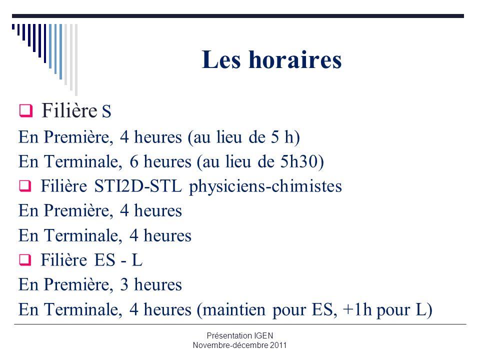Les horaires Filière S En Première, 4 heures (au lieu de 5 h) En Terminale, 6 heures (au lieu de 5h30) Filière STI2D-STL physiciens-chimistes En Premi