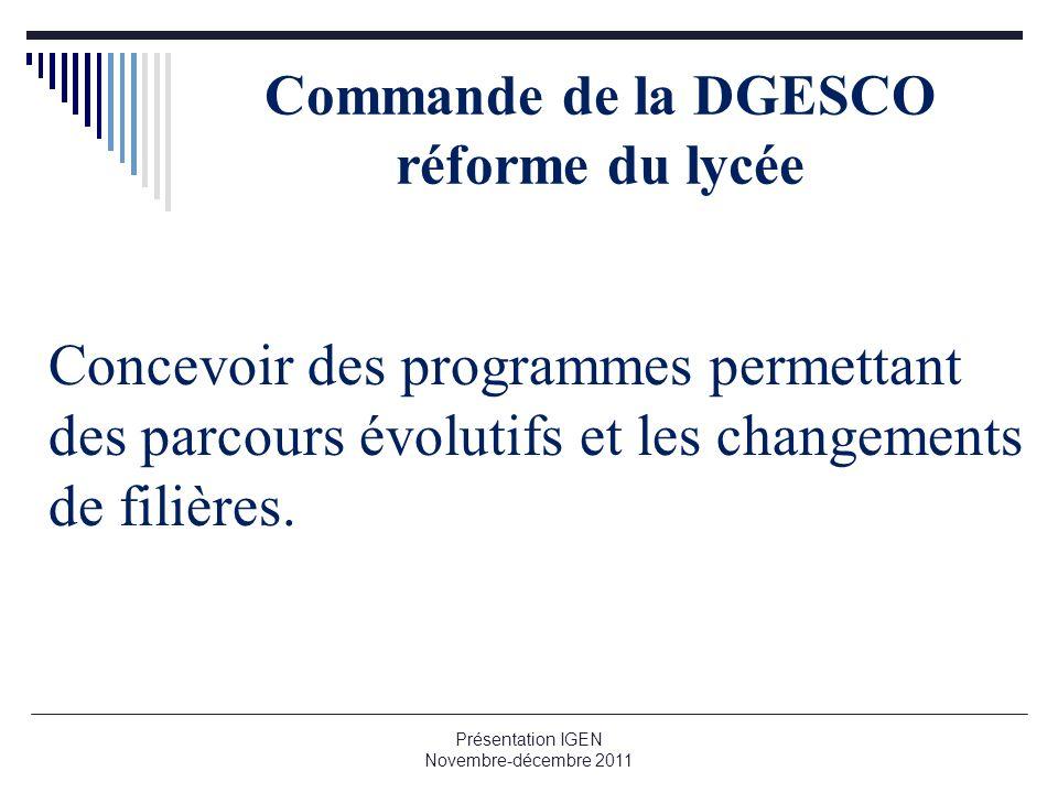Commande de la DGESCO réforme du lycée Concevoir des programmes permettant des parcours évolutifs et les changements de filières. Présentation IGEN No