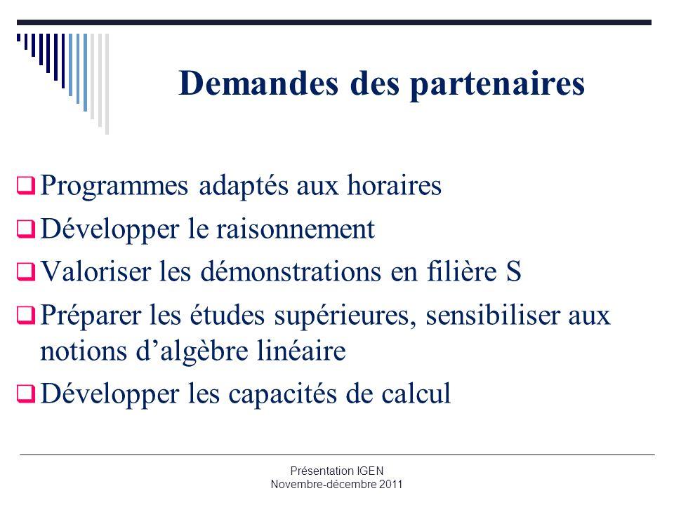 Demandes des partenaires Programmes adaptés aux horaires Développer le raisonnement Valoriser les démonstrations en filière S Préparer les études supé