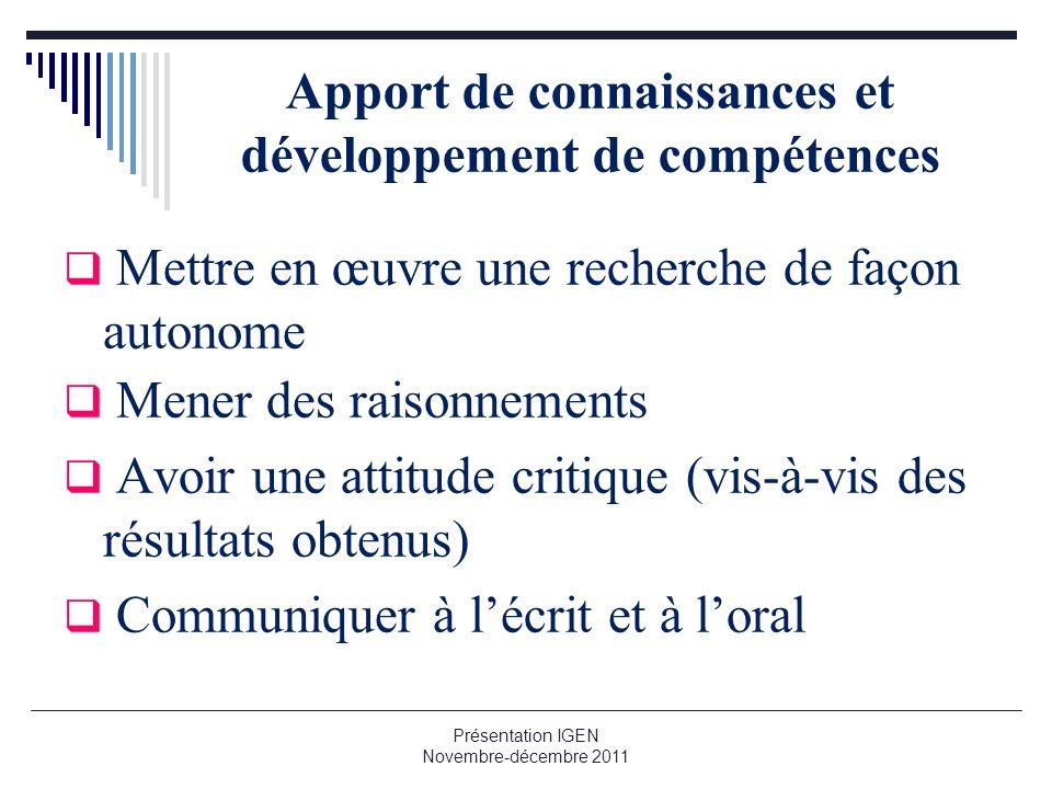 Apport de connaissances et développement de compétences Mettre en œuvre une recherche de façon autonome Mener des raisonnements Avoir une attitude cri
