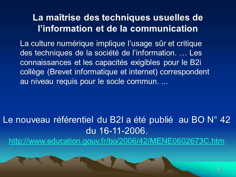 12 Le nouveau référentiel du B2I a été publié au BO N° 42 du 16-11-2006. http://www.education.gouv.fr/bo/2006/42/MENE0602673C.htm La maîtrise des tech
