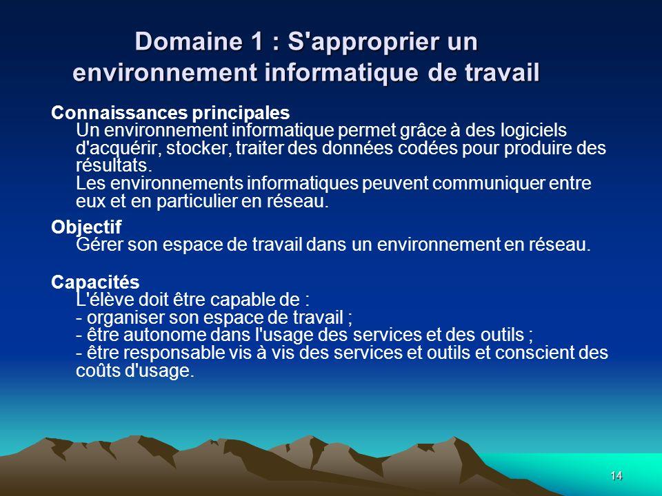 14 Domaine 1 : S'approprier un environnement informatique de travail Connaissances principales Un environnement informatique permet grâce à des logici