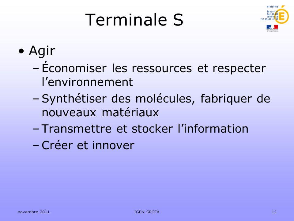 Terminale S Agir –Économiser les ressources et respecter lenvironnement –Synthétiser des molécules, fabriquer de nouveaux matériaux –Transmettre et st