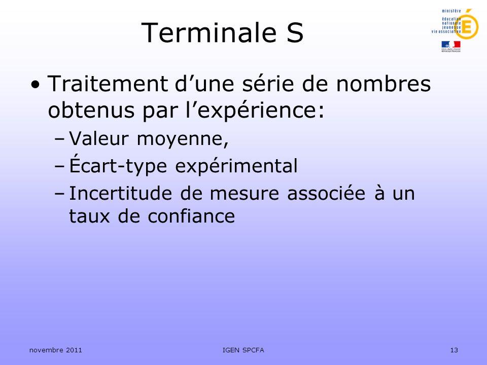 Terminale S Traitement dune série de nombres obtenus par lexpérience: –Valeur moyenne, –Écart-type expérimental –Incertitude de mesure associée à un t