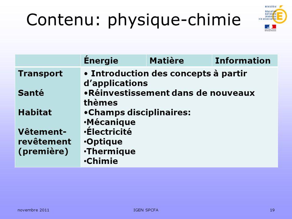 Contenu: physique-chimie ÉnergieMatièreInformation Transport Santé Habitat Vêtement- revêtement (première) Introduction des concepts à partir dapplica