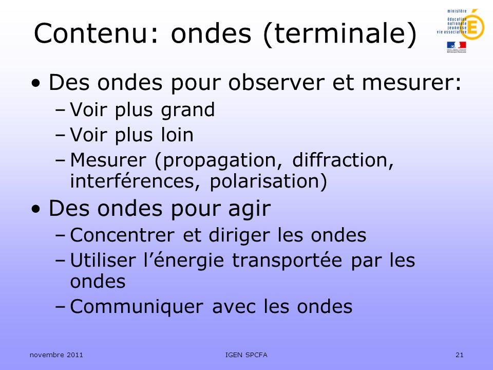Contenu: ondes (terminale) Des ondes pour observer et mesurer: –Voir plus grand –Voir plus loin –Mesurer (propagation, diffraction, interférences, pol