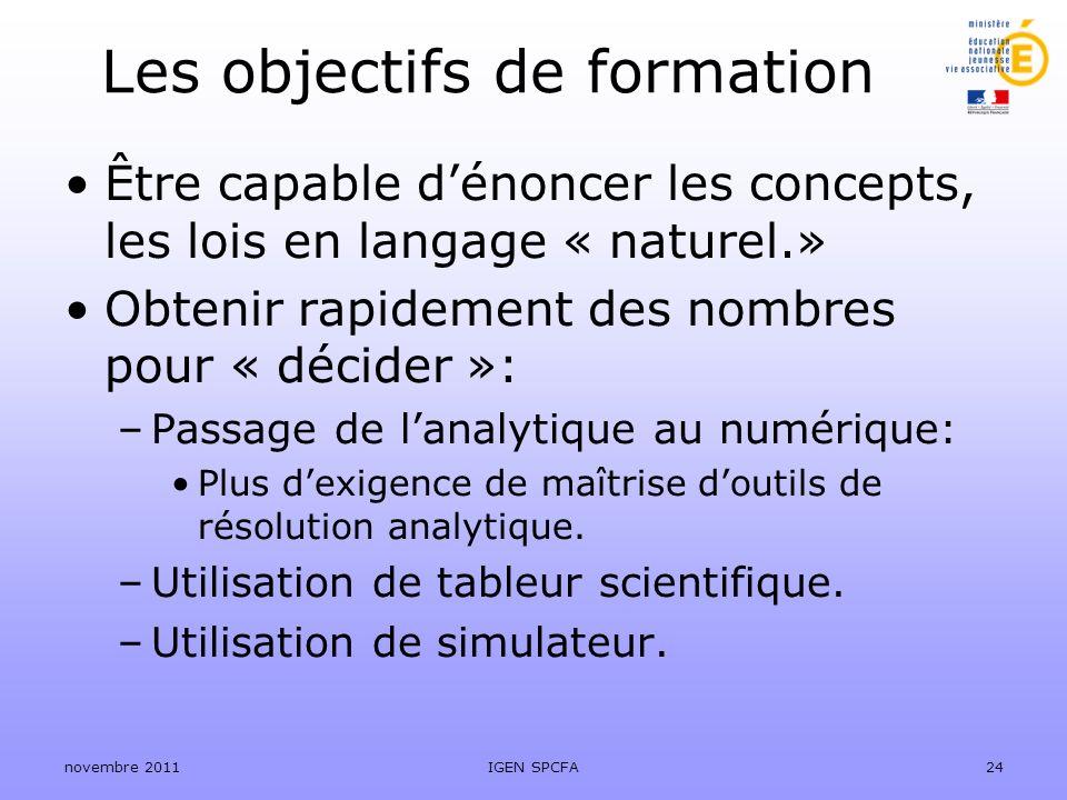 Les objectifs de formation Être capable dénoncer les concepts, les lois en langage « naturel.» Obtenir rapidement des nombres pour « décider »: –Passa