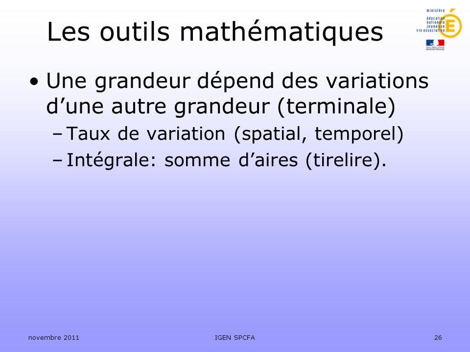 Les outils mathématiques Une grandeur dépend des variations dune autre grandeur (terminale) –Taux de variation (spatial, temporel) –Intégrale: somme d