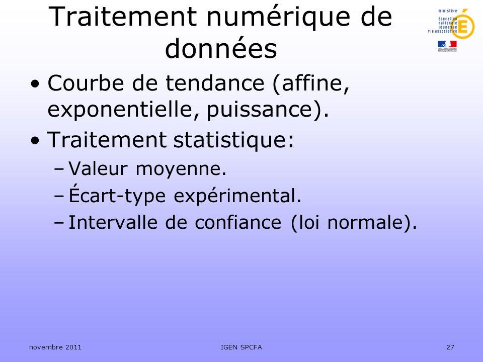 Traitement numérique de données Courbe de tendance (affine, exponentielle, puissance). Traitement statistique: –Valeur moyenne. –Écart-type expériment