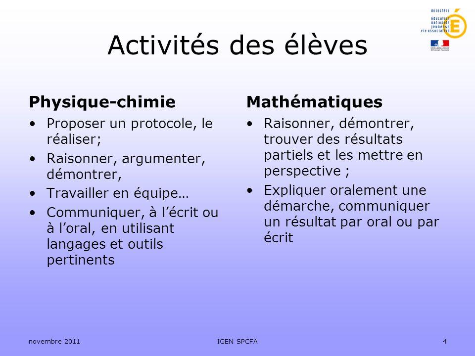 Activités des élèves Physique-chimie Proposer un protocole, le réaliser; Raisonner, argumenter, démontrer, Travailler en équipe… Communiquer, à lécrit