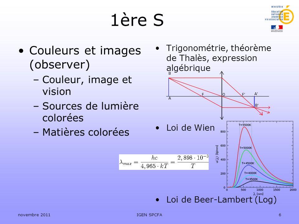 Trigonométrie, théorème de Thalès, expression algébrique Loi de Wien Loi de Beer-Lambert (Log) 1ère S Couleurs et images (observer) –Couleur, image et