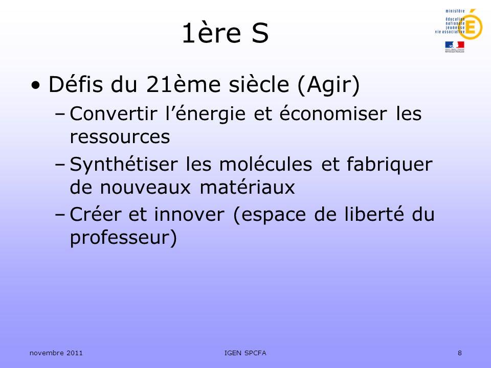 1ère S Défis du 21ème siècle (Agir) –Convertir lénergie et économiser les ressources –Synthétiser les molécules et fabriquer de nouveaux matériaux –Cr