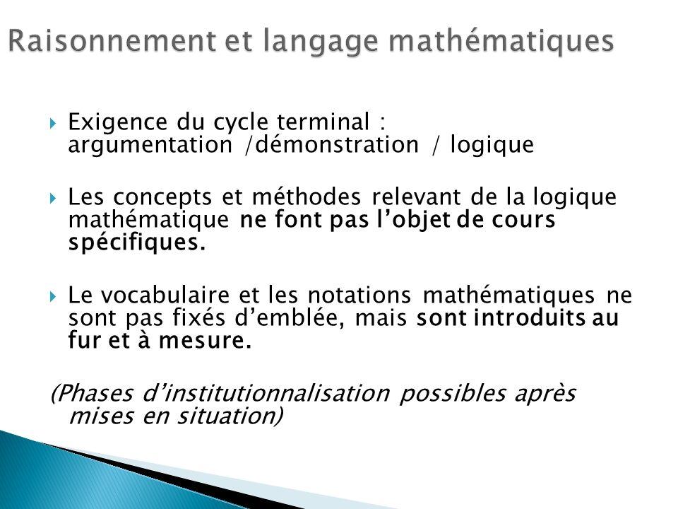 Exigence du cycle terminal : argumentation /démonstration / logique Les concepts et méthodes relevant de la logique mathématique ne font pas lobjet de cours spécifiques.