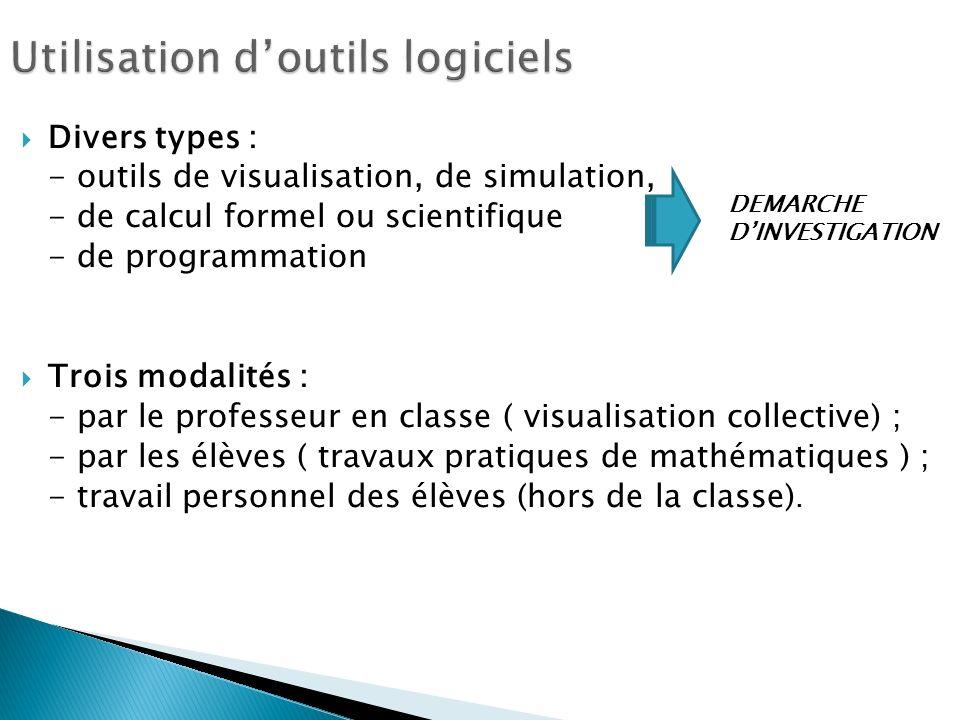 Divers types : - outils de visualisation, de simulation, - de calcul formel ou scientifique - de programmation Trois modalités : - par le professeur en classe ( visualisation collective) ; - par les élèves ( travaux pratiques de mathématiques ) ; - travail personnel des élèves (hors de la classe).