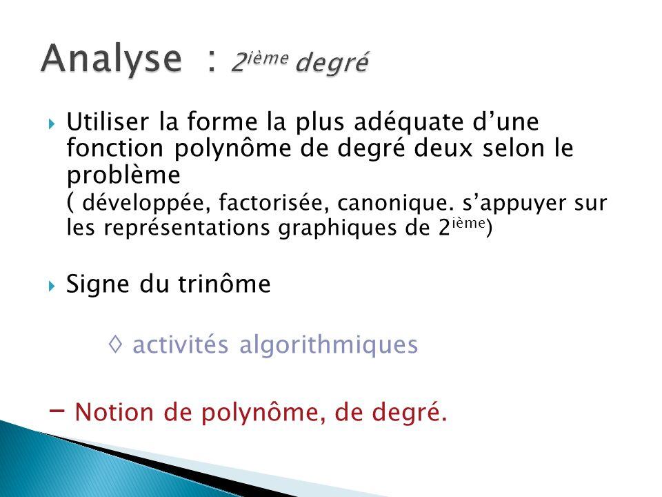Utiliser la forme la plus adéquate dune fonction polynôme de degré deux selon le problème ( développée, factorisée, canonique.