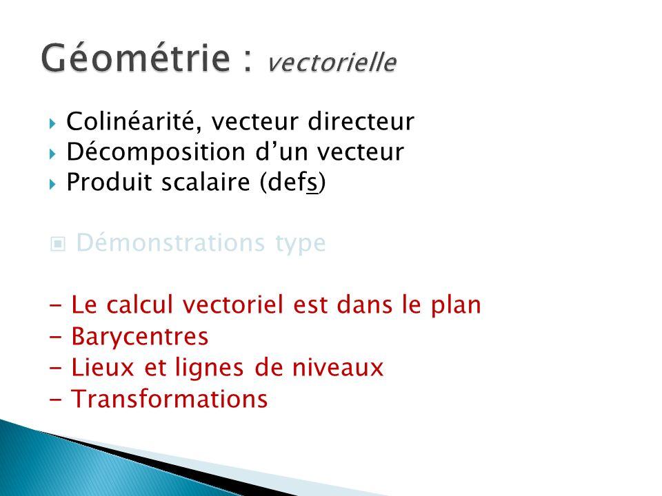 Colinéarité, vecteur directeur Décomposition dun vecteur Produit scalaire (defs) Démonstrations type - Le calcul vectoriel est dans le plan - Barycentres - Lieux et lignes de niveaux - Transformations Géométrie : vectorielle