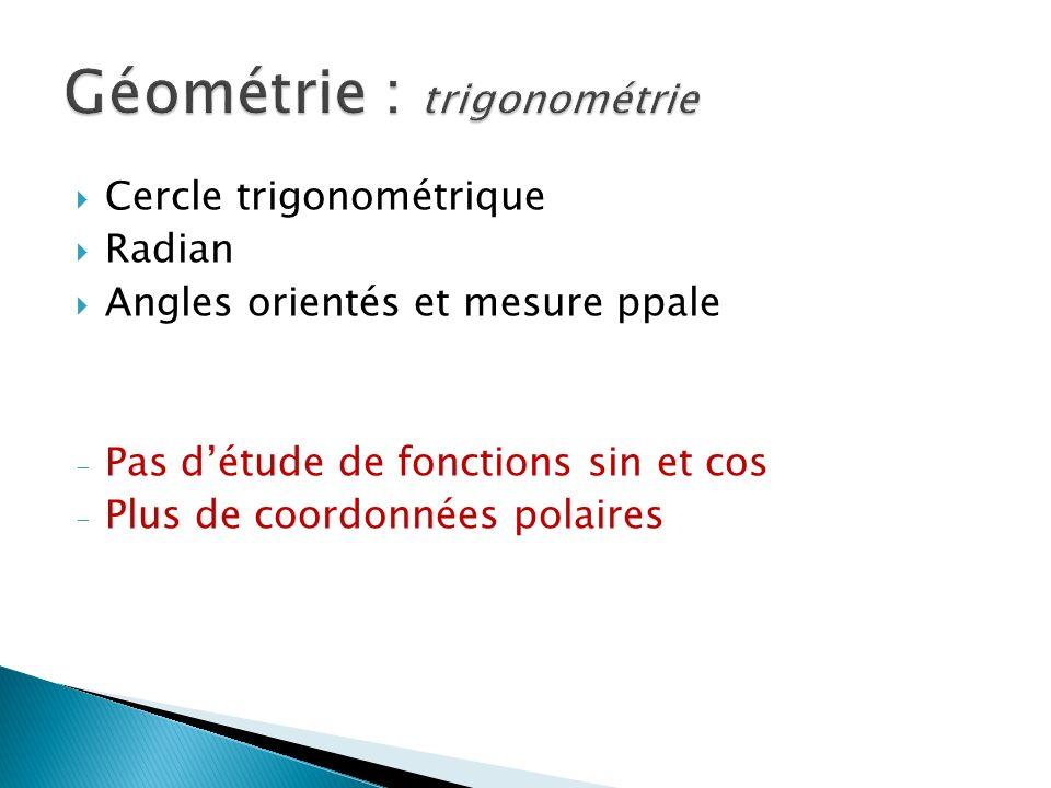 Cercle trigonométrique Radian Angles orientés et mesure ppale - Pas détude de fonctions sin et cos - Plus de coordonnées polaires Géométrie : trigonométrie