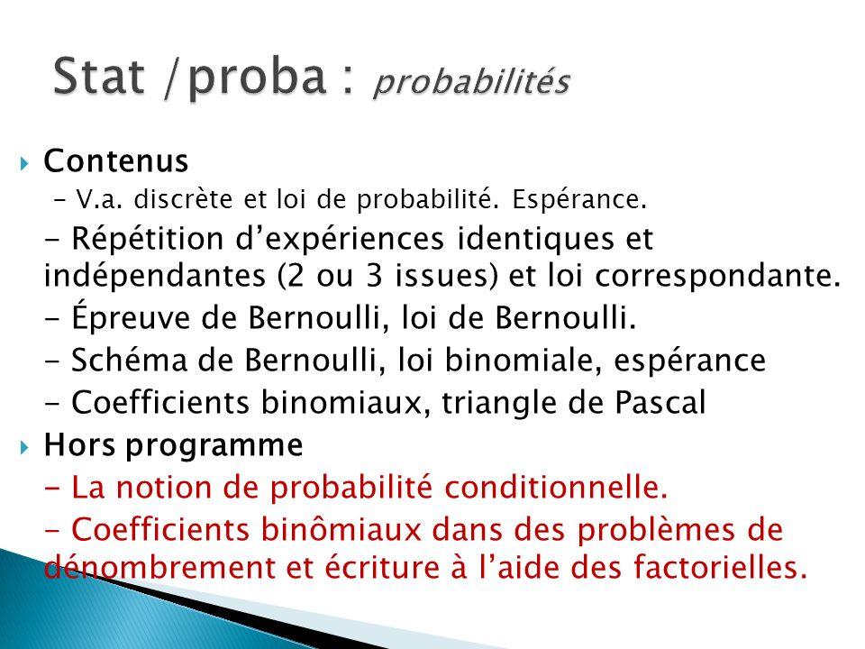 Contenus - V.a. discrète et loi de probabilité. Espérance.