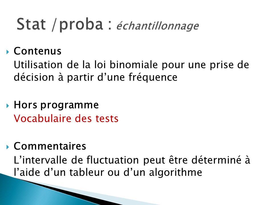 Contenus Utilisation de la loi binomiale pour une prise de décision à partir dune fréquence Hors programme Vocabulaire des tests Commentaires Lintervalle de fluctuation peut être déterminé à laide dun tableur ou dun algorithme Stat /proba : échantillonnage