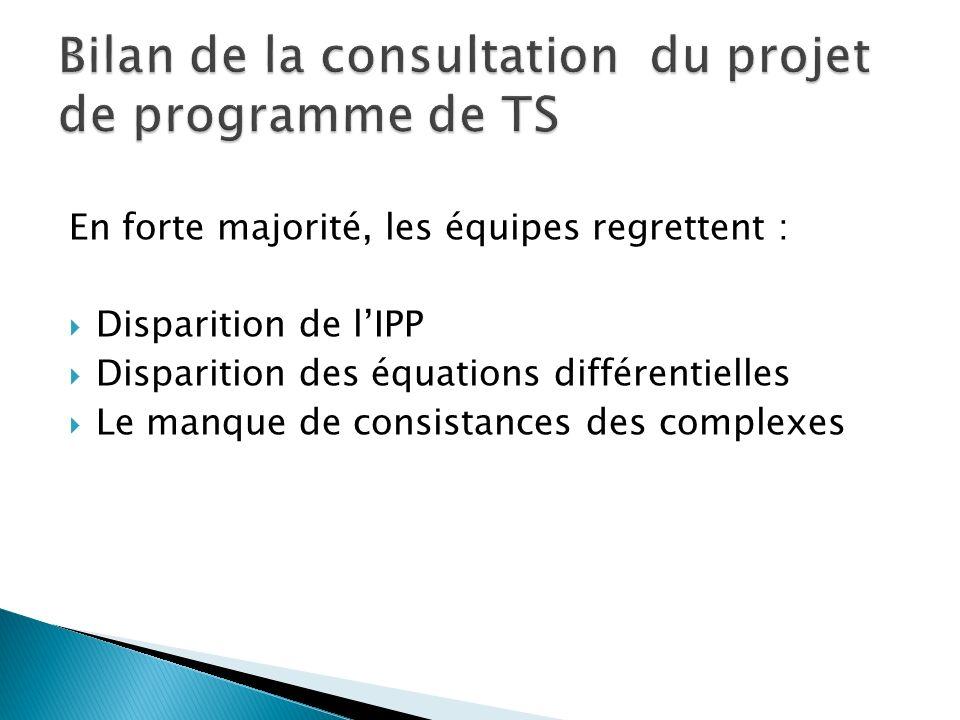 En forte majorité, les équipes regrettent : Disparition de lIPP Disparition des équations différentielles Le manque de consistances des complexes Bilan de la consultation du projet de programme de TS