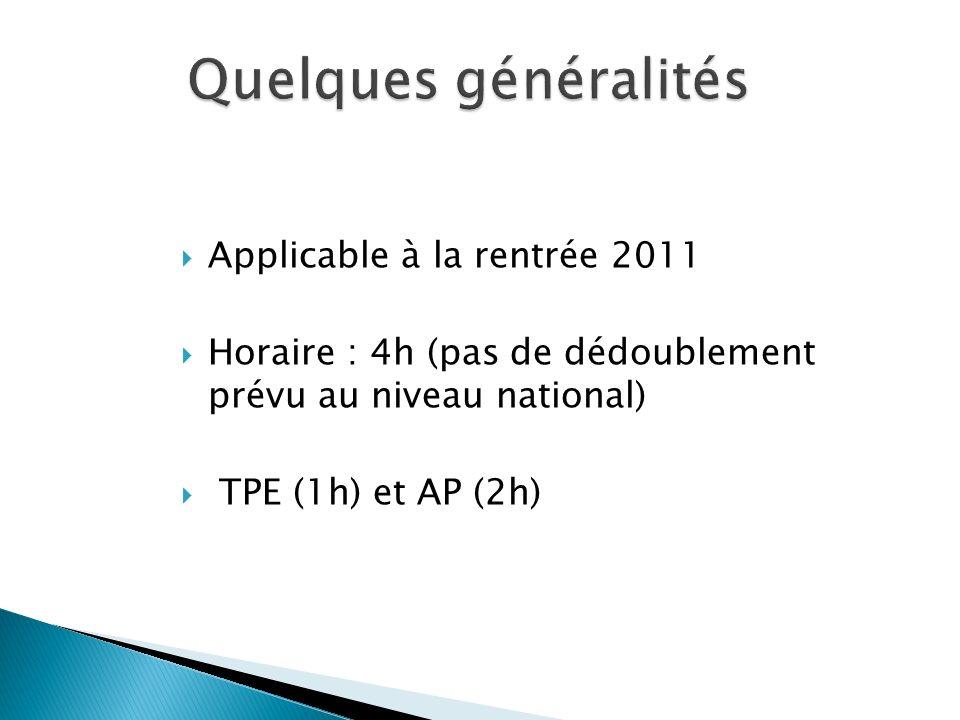 Applicable à la rentrée 2011 Horaire : 4h (pas de dédoublement prévu au niveau national) TPE (1h) et AP (2h) Quelques généralités Quelques généralités