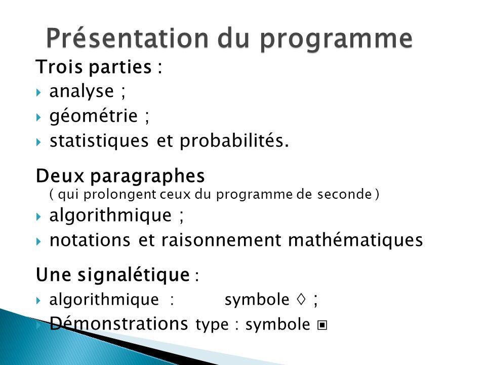 Trois parties : analyse ; géométrie ; statistiques et probabilités.