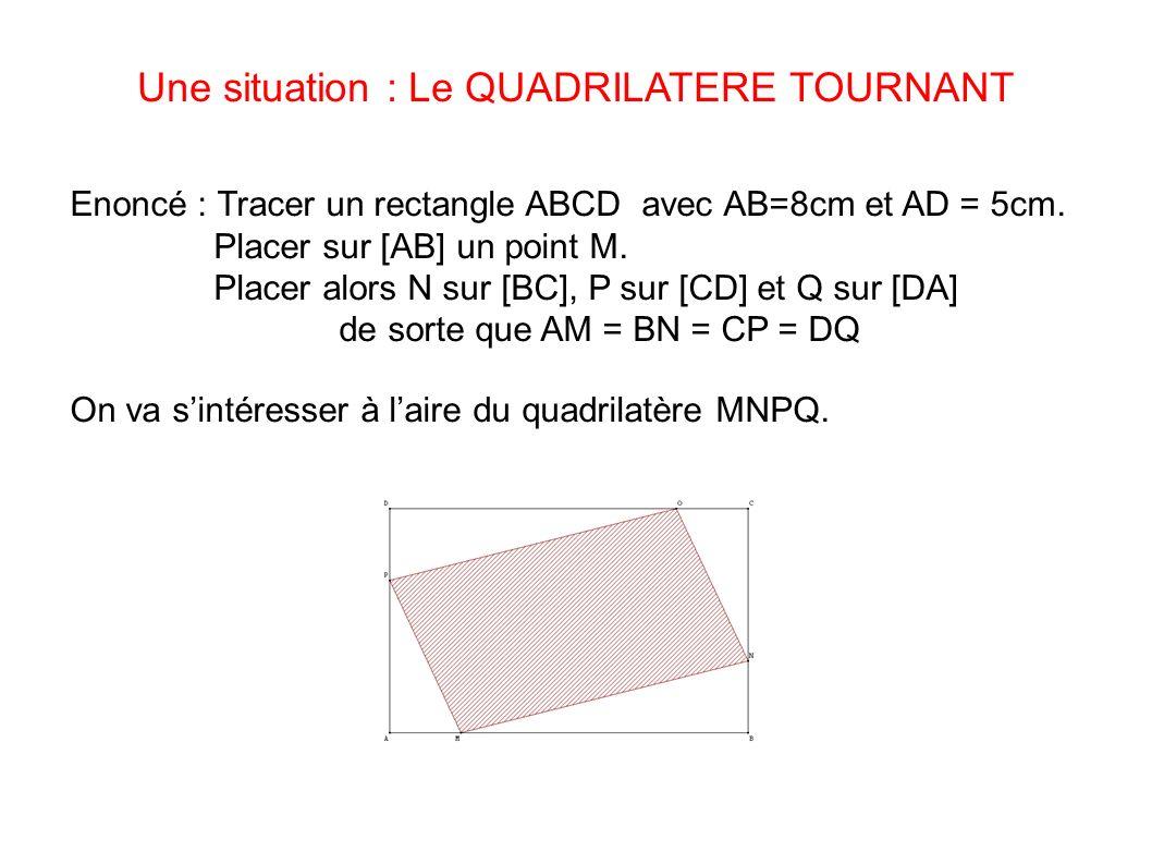 Une situation : Le QUADRILATERE TOURNANT Enoncé : Tracer un rectangle ABCD avec AB=8cm et AD = 5cm. Placer sur [AB] un point M. Placer alors N sur [BC