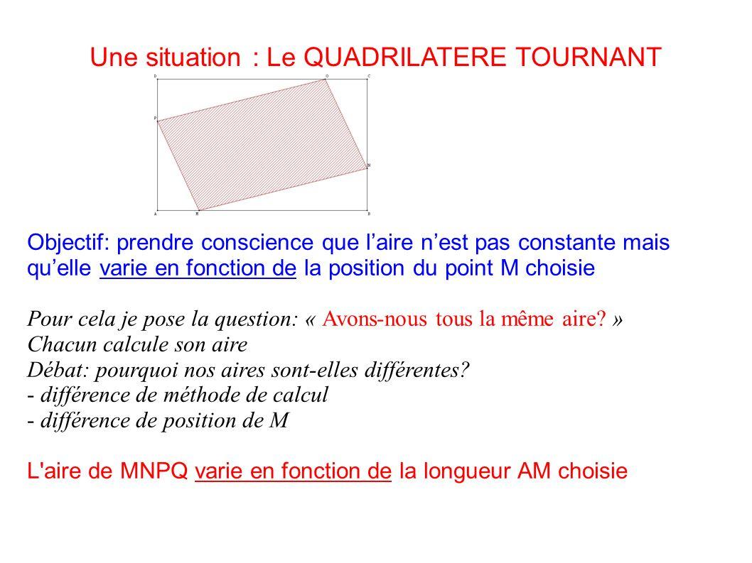 Une situation : Le QUADRILATERE TOURNANT Objectif: prendre conscience que laire nest pas constante mais quelle varie en fonction de la position du poi