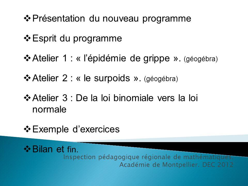 Inspection pédagogique régionale de mathématiques. Académie de Montpellier. DEC 2012 Présentation du nouveau programme Esprit du programme Atelier 1 :