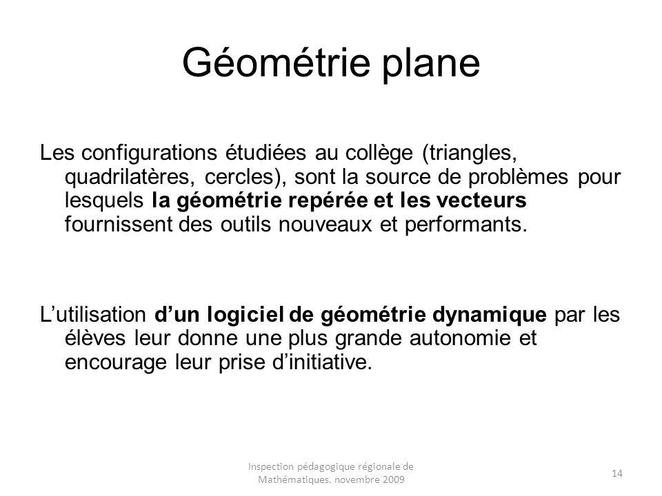 Inspection pédagogique régionale de Mathématiques. novembre 2009 14 Géométrie plane Les configurations étudiées au collège (triangles, quadrilatères,
