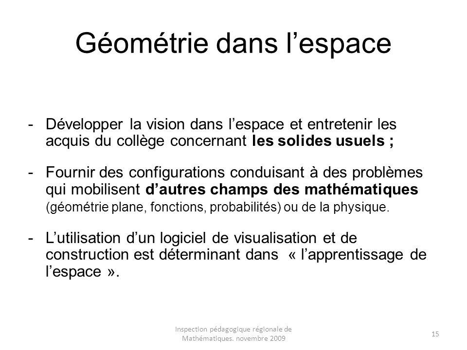 Inspection pédagogique régionale de Mathématiques. novembre 2009 15 Géométrie dans lespace -Développer la vision dans lespace et entretenir les acquis