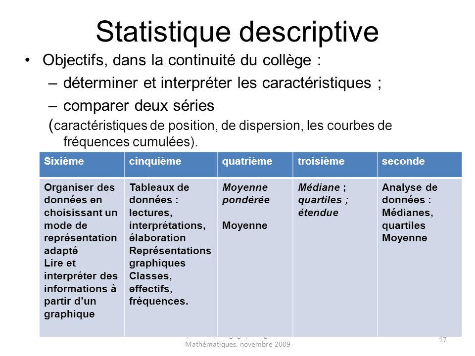 Inspection pédagogique régionale de Mathématiques. novembre 2009 17 Statistique descriptive Objectifs, dans la continuité du collège : –déterminer et