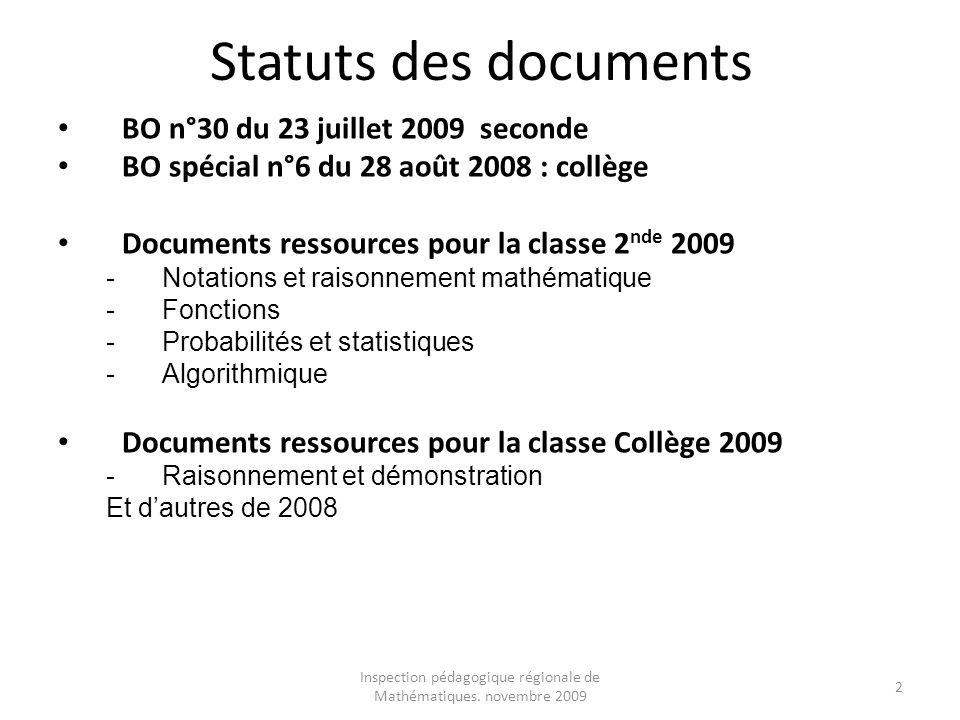 Inspection pédagogique régionale de Mathématiques. novembre 2009 2 Statuts des documents BO n°30 du 23 juillet 2009 seconde BO spécial n°6 du 28 août