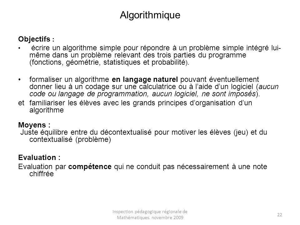 Inspection pédagogique régionale de Mathématiques. novembre 2009 22 Algorithmique Objectifs : écrire un algorithme simple pour répondre à un problème