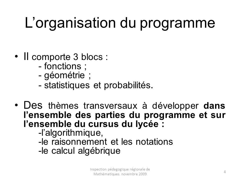 Inspection pédagogique régionale de Mathématiques. novembre 2009 4 Lorganisation du programme Il comporte 3 blocs : - fonctions ; - géométrie ; - stat