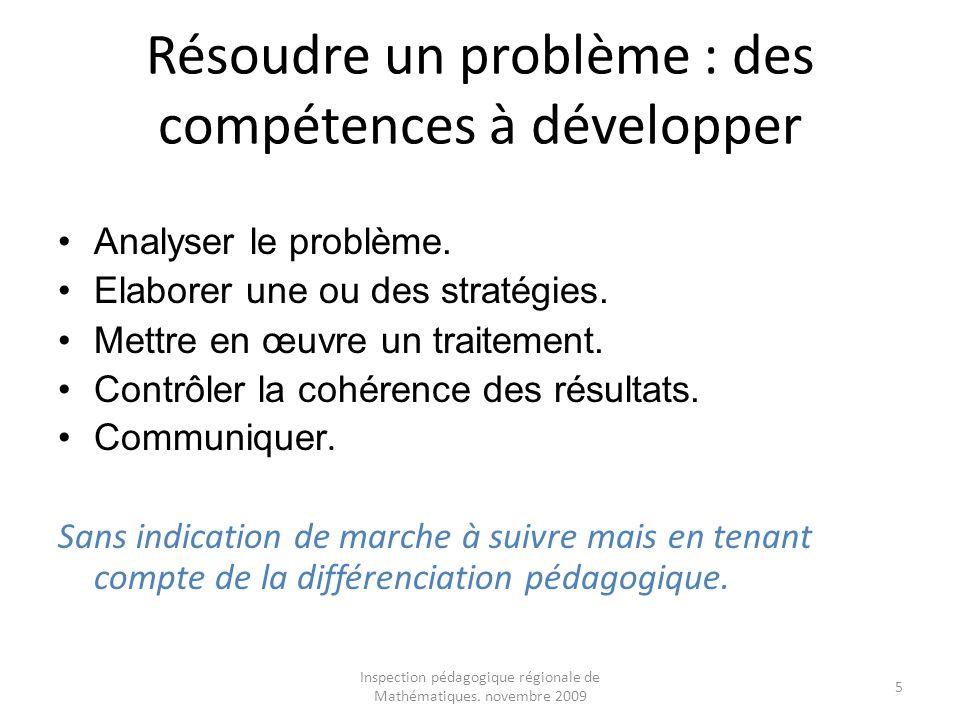 Inspection pédagogique régionale de Mathématiques. novembre 2009 5 Résoudre un problème : des compétences à développer Analyser le problème. Elaborer