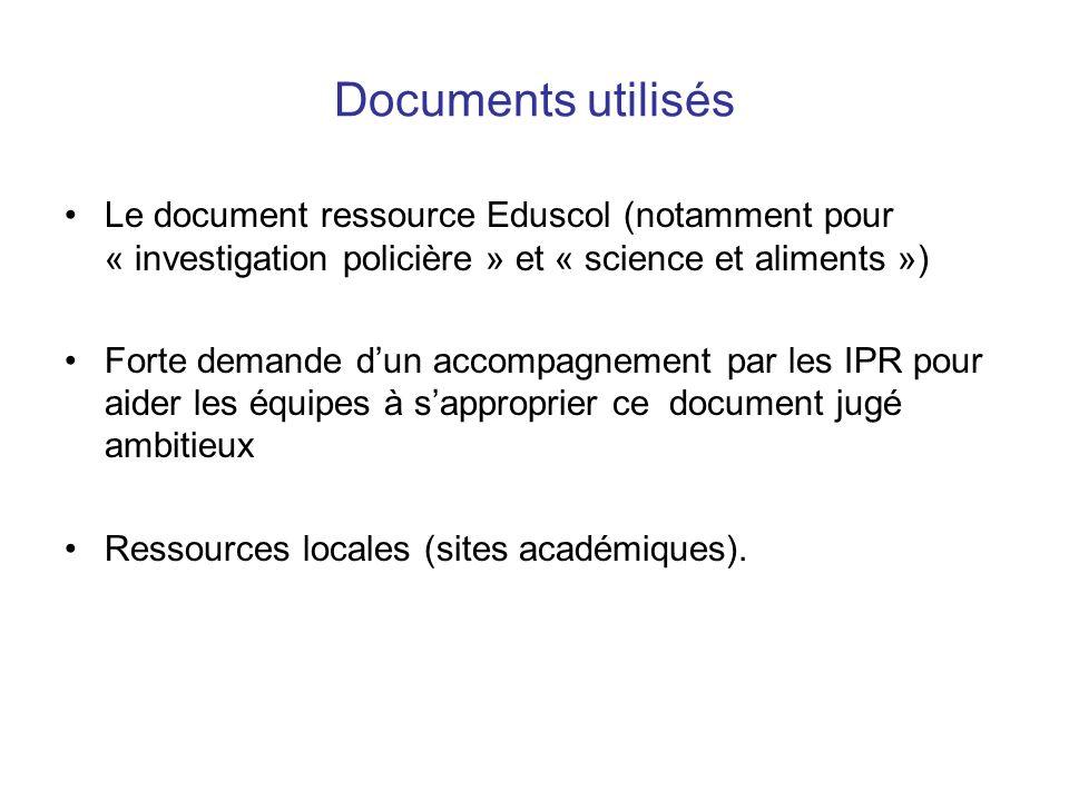 Documents utilisés Le document ressource Eduscol (notamment pour « investigation policière » et « science et aliments ») Forte demande dun accompagnement par les IPR pour aider les équipes à sapproprier ce document jugé ambitieux Ressources locales (sites académiques).