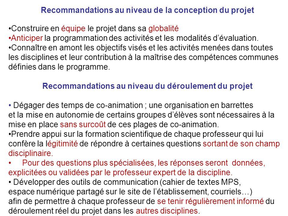 Recommandations au niveau de la conception du projet Construire en équipe le projet dans sa globalité Anticiper la programmation des activités et les modalités dévaluation.