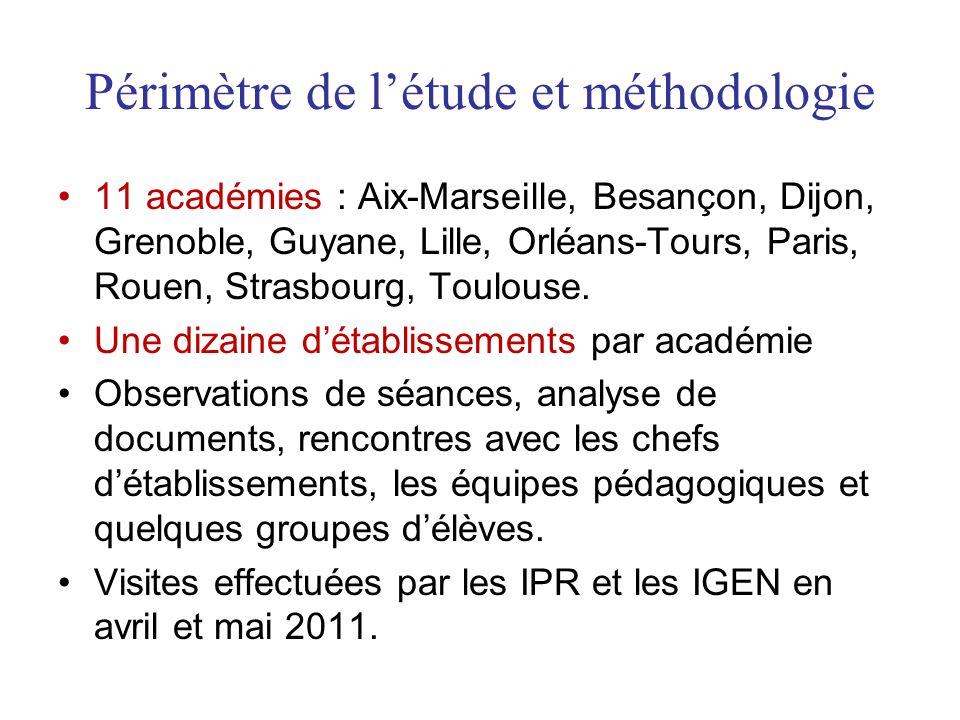 Périmètre de létude et méthodologie 11 académies : Aix-Marseille, Besançon, Dijon, Grenoble, Guyane, Lille, Orléans-Tours, Paris, Rouen, Strasbourg, Toulouse.