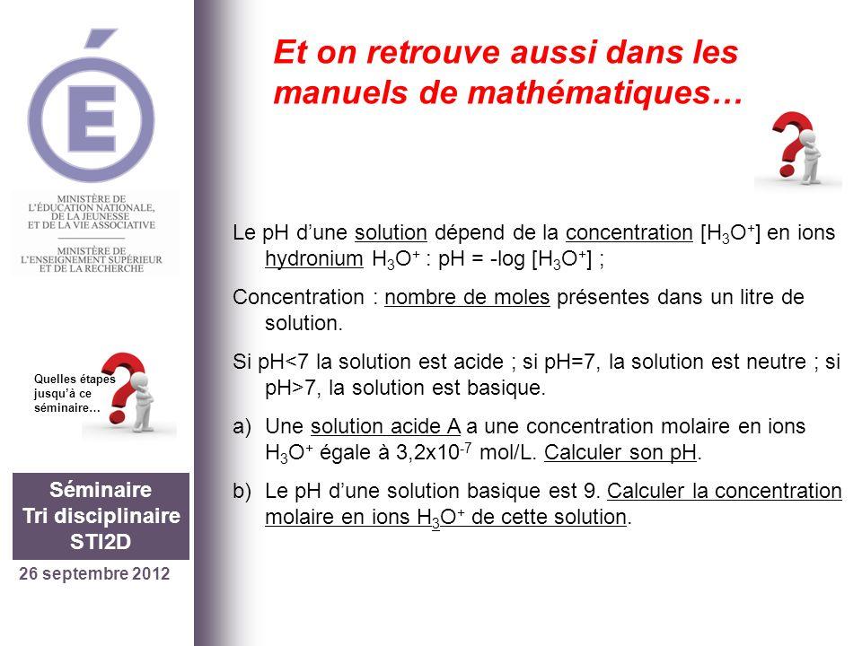 26 septembre 2012 Séminaire Tri disciplinaire STI2D Quelles étapes jusquà ce séminaire… Et on retrouve aussi dans les manuels de mathématiques… Le pH