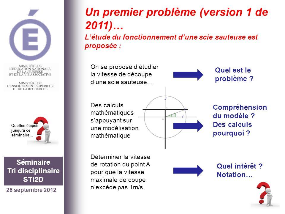 26 septembre 2012 Séminaire Tri disciplinaire STI2D Quelles étapes jusquà ce séminaire… Un premier problème (version 1 de 2011)… Létude du fonctionnem