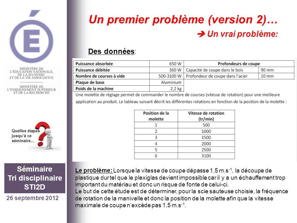 26 septembre 2012 Séminaire Tri disciplinaire STI2D Quelles étapes jusquà ce séminaire… Un premier problème (version 2)… Un vrai problème: Des données