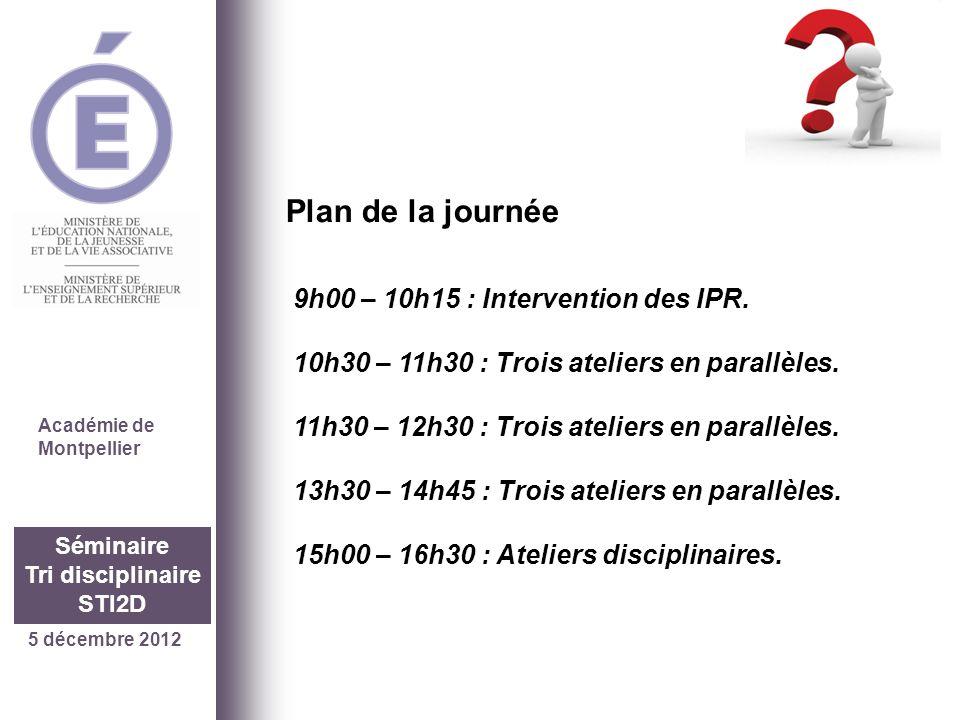 5 décembre 2012 Séminaire Tri disciplinaire STI2D Académie de Montpellier 9h00 – 10h15 : Intervention des IPR. 10h30 – 11h30 : Trois ateliers en paral