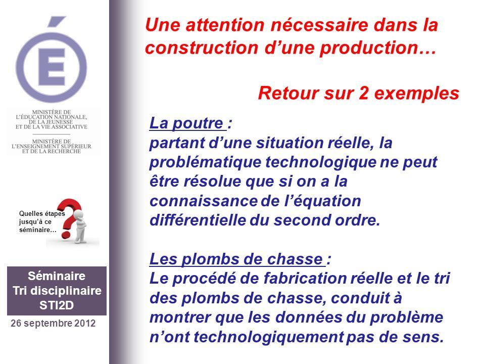 26 septembre 2012 Séminaire Tri disciplinaire STI2D Quelles étapes jusquà ce séminaire… Une attention nécessaire dans la construction dune production…